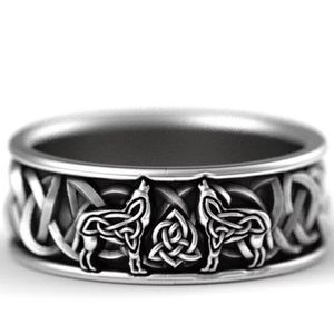 Nordic Viking Wolf Celtic Knot Silver Band Ring